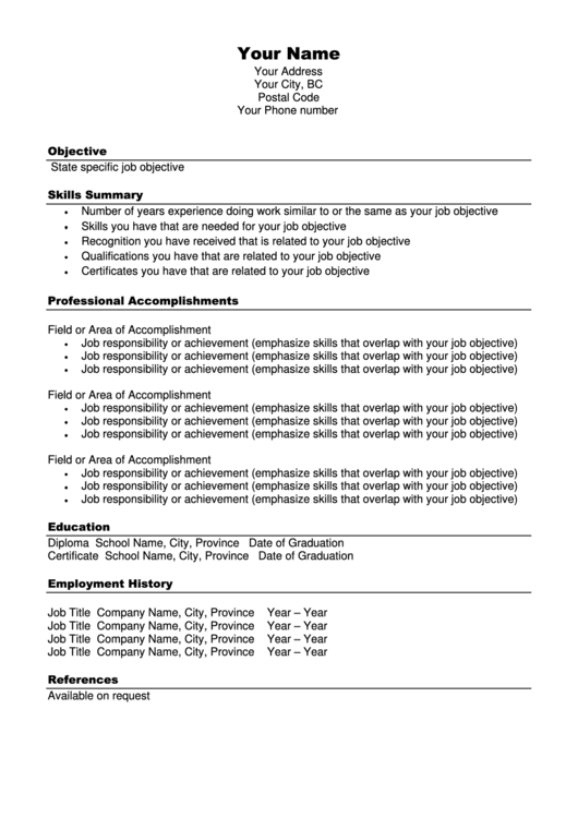 functional resume template printable pdf download