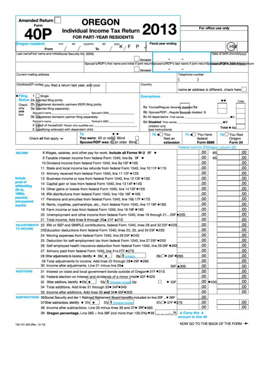 2013 estimated tax form oregon