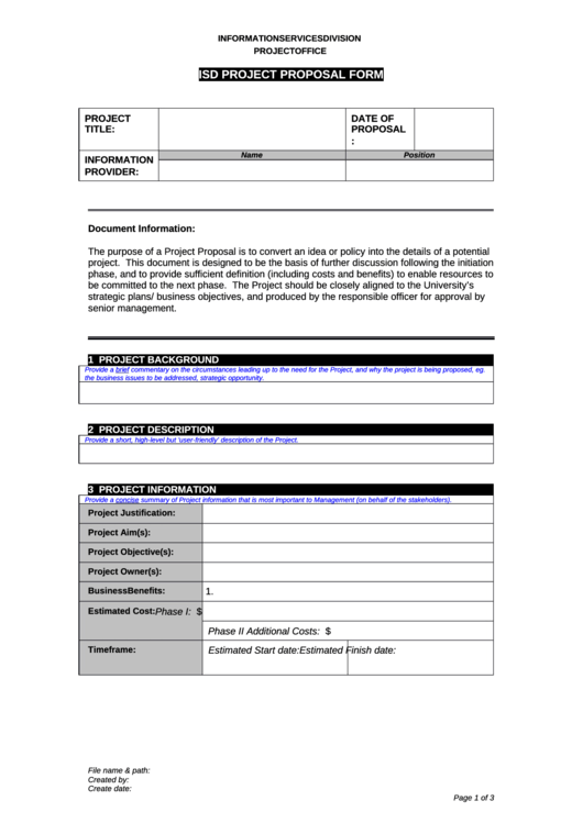Isd Project Proposal Form Printable pdf