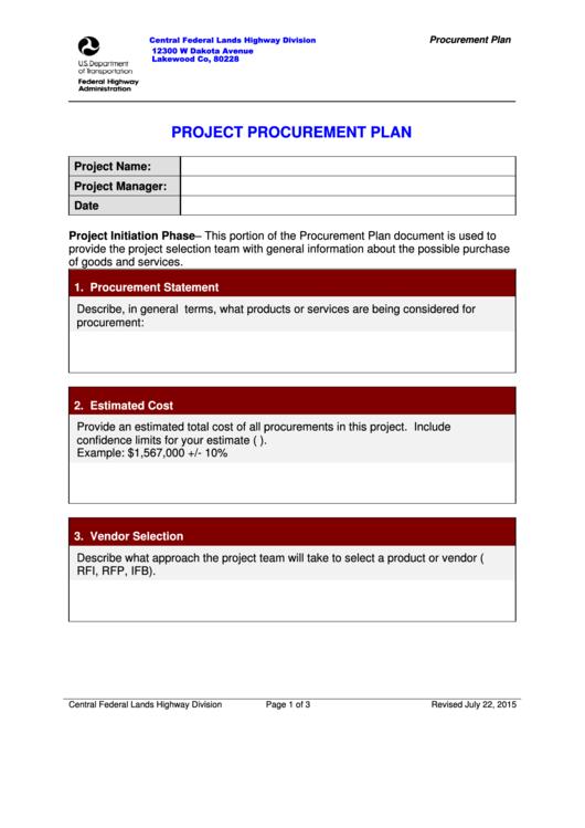 procurement document template - project procurement plan template printable pdf download
