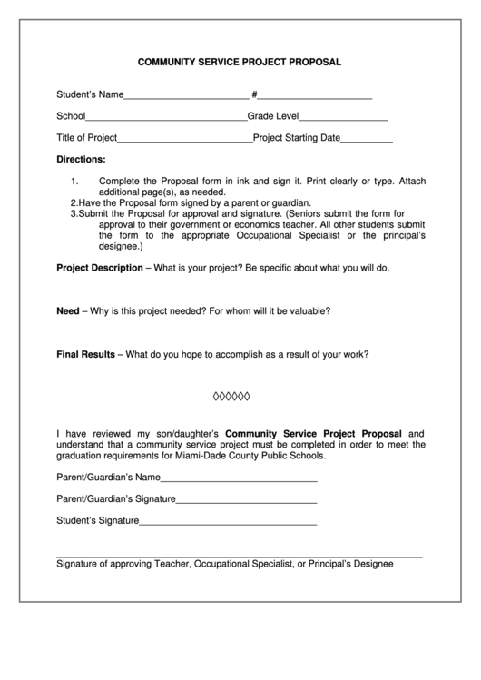 Community Service Project Proposal Printable pdf