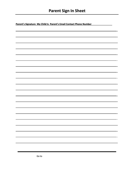 Parent Sign In Sheet Template