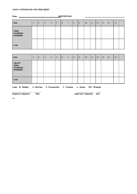 Daily Attendance And Time Sheet Template