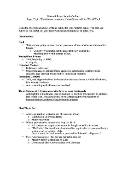 Research Paper Sample Outline Template - What Factors Caused The United States To Enter World War I Printable pdf