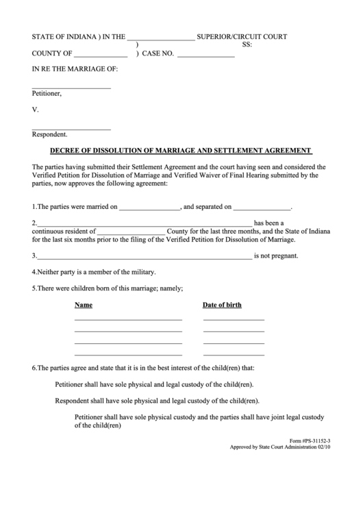 Fillable Decree Of Dissolution Of Marriage And Settlement Agreement Printable pdf