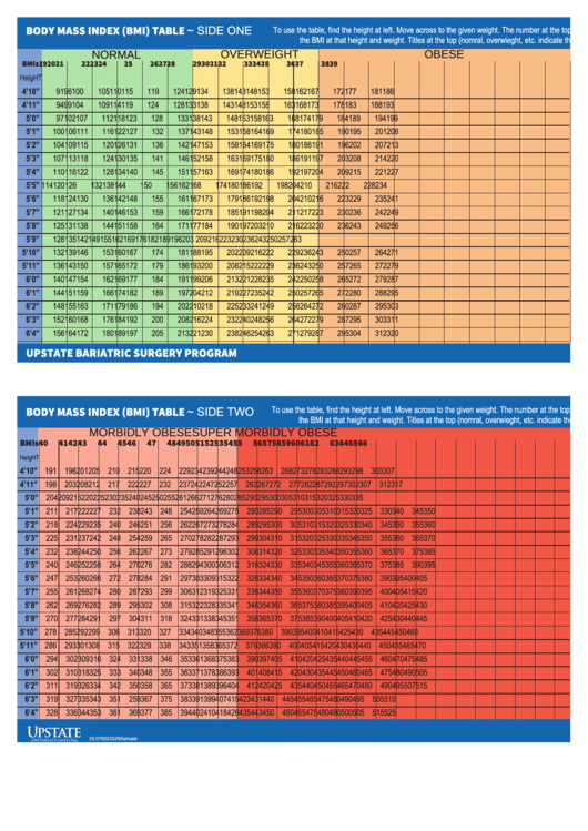 Body Mass Index (Bmi) Table - Colored Printable pdf