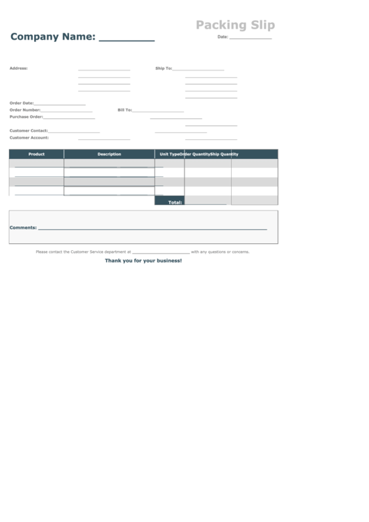 Packing Slip Template (fillable)
