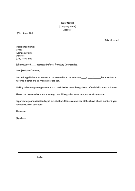 Pretty Jury Duty Excuse Letter Template Photos  15 Sample Excuse
