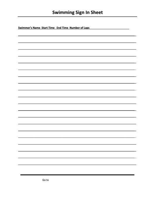 Swimming Sign In Sheet Template