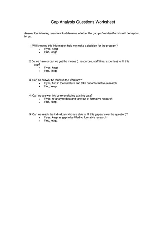 Gap Analysis Questions Worksheet Printable pdf