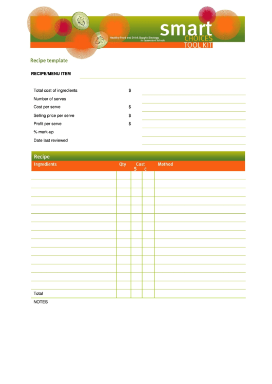 Recipe Template Printable pdf