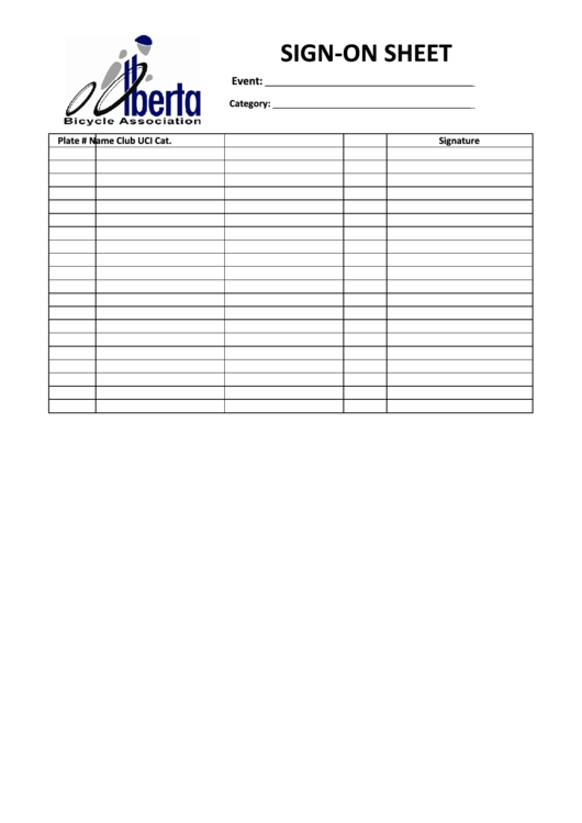 Event Sign-on Sheet Template