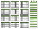 Yearly Calendar Template With Holidays Green - 2016