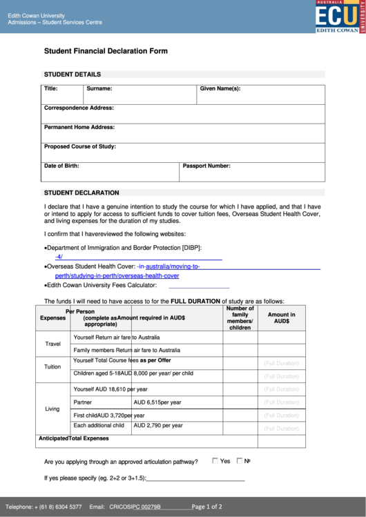 Student Financial Declaration Form printable pdf download