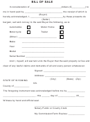 Bill Of Sale Template (fillable)