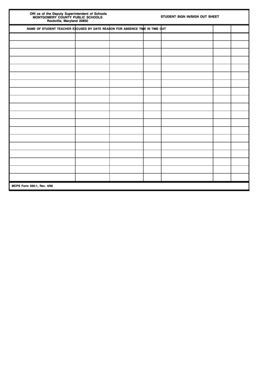 Fillable Student Sign In/sign Out Sheet Printable pdf