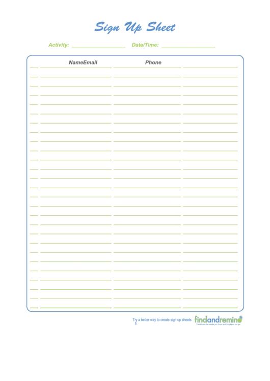 Sign Up Sheet Template Printable pdf