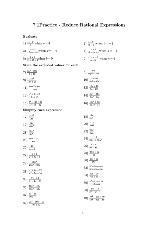 Reducing Rational Expressions Worksheet