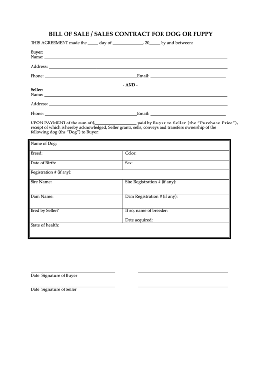 Fillable Bill Of Sale / Sales Contract For Dog Or Puppy Printable pdf