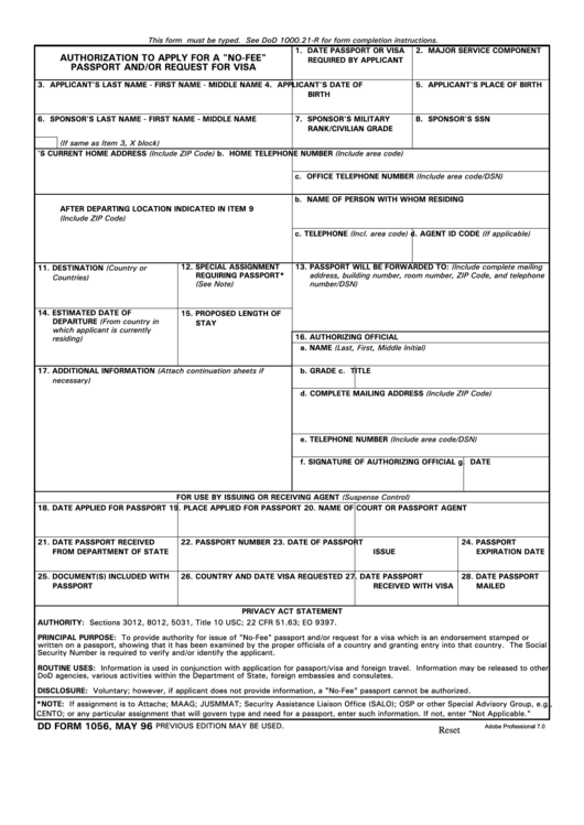 "Dd Form 1056 - Authorization To Apply For A ""No-Fee"" Passport And/or Request For Visa Printable pdf"