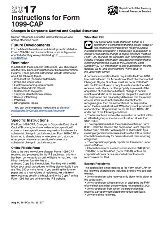 instructions for form 1099 cap 2017 printable pdf download. Black Bedroom Furniture Sets. Home Design Ideas