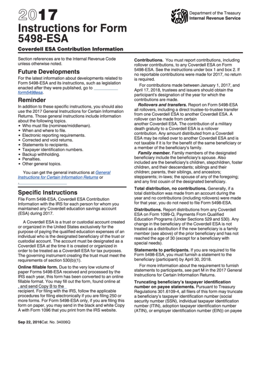 Instructions For Form 5498 Esa 2017 Printable Pdf Download