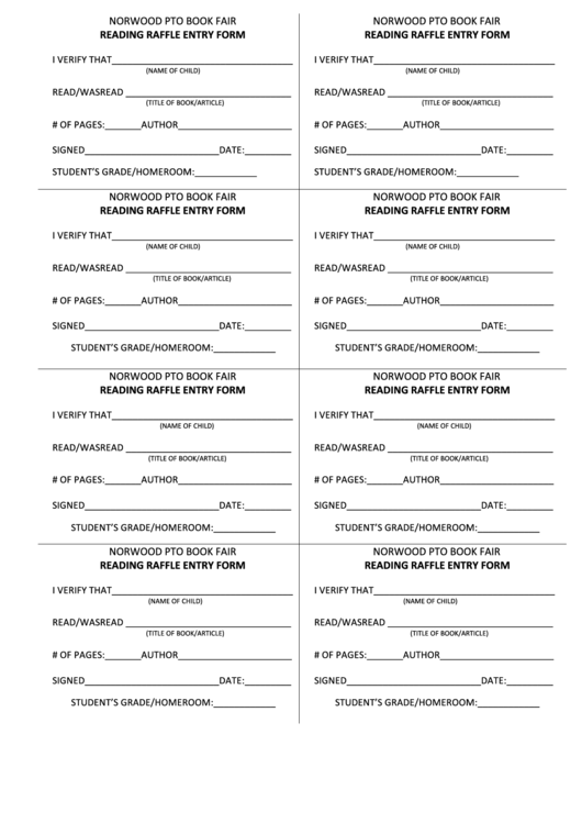 Reading Raffle Entry Form