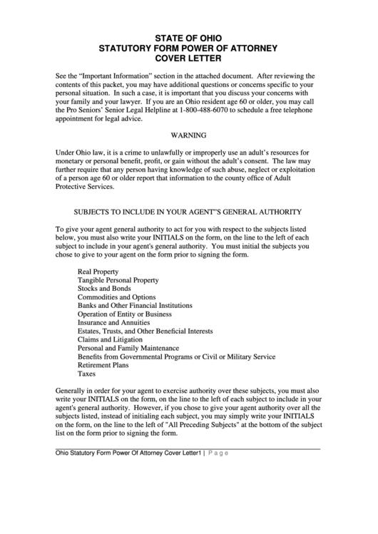 state of ohio statutory form power of attorney cover letter printable pdf download