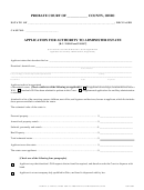 Application For Authority To Administer Estate