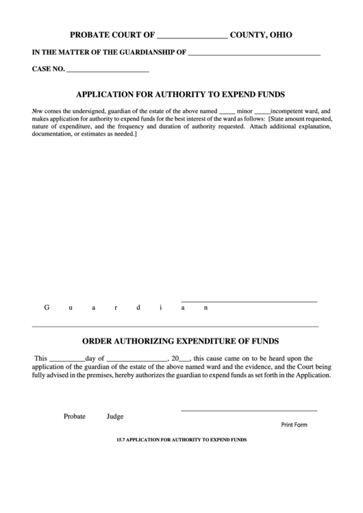 Fillable Application For Authority To Expend Funds Printable pdf