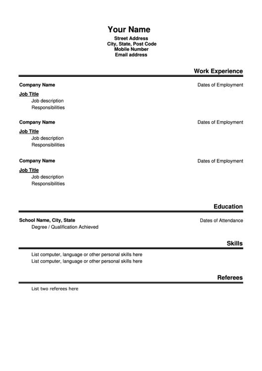Basic Resume Template Printable pdf