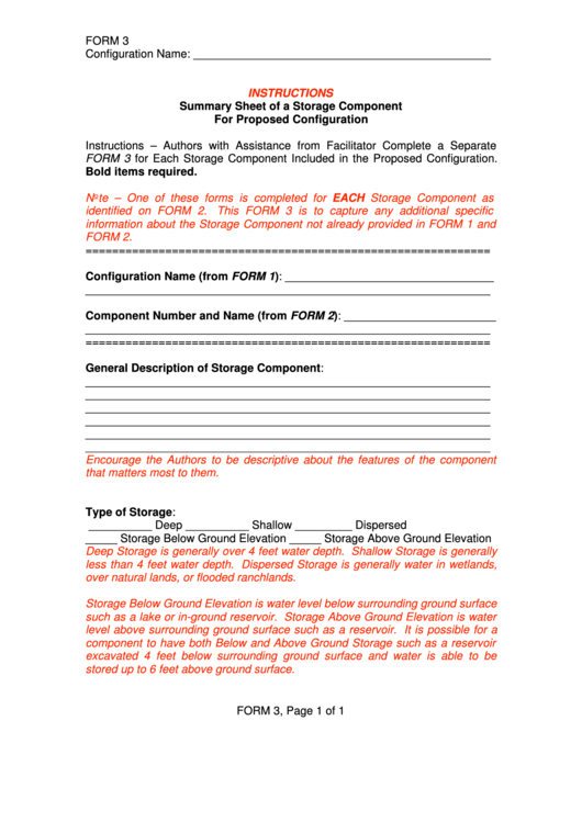 Form 3 Summary Sheet Of A Storage Component For Proposed Configuration