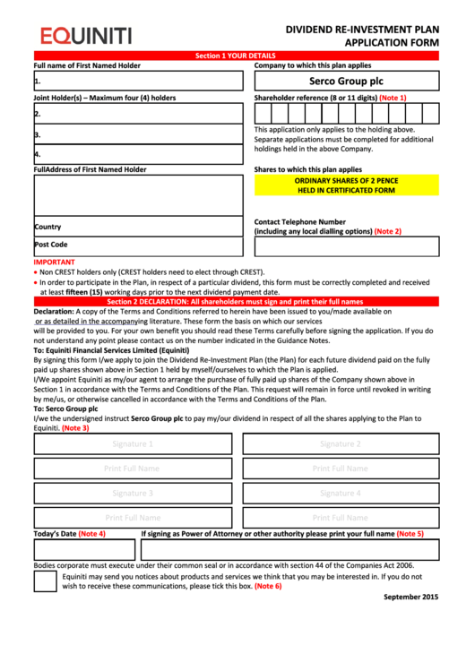 Equiniti Dividend Re-Investment Plan Application Form - Serco Group Printable pdf