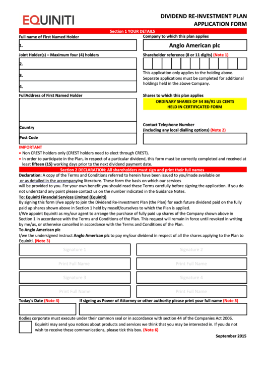 Equiniti Dividend Re-Investment Plan Application Form - Anglo American Printable pdf