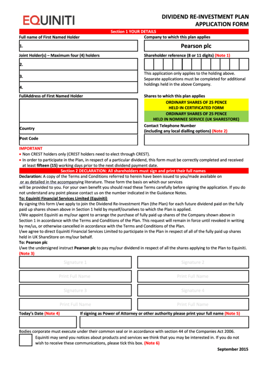 Equiniti Dividend Re-Investment Plan Application Form - Pearson Printable pdf