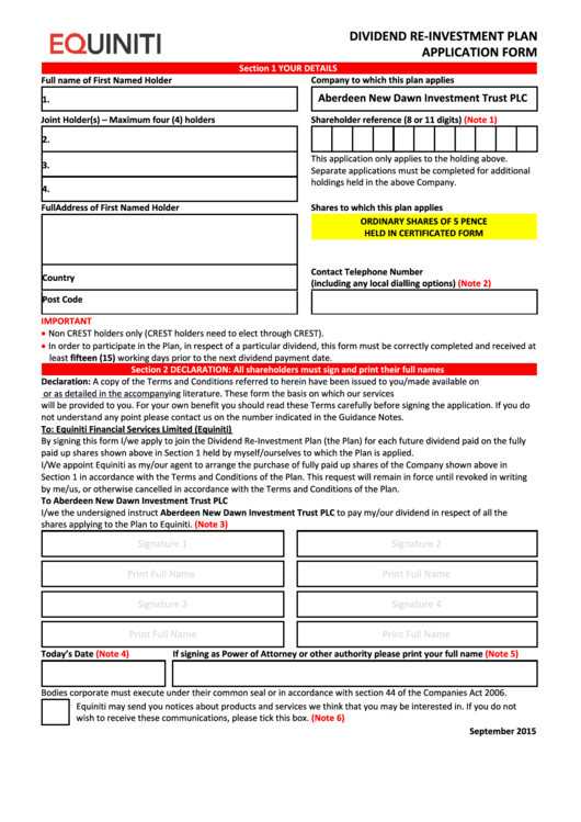 Equiniti Dividend Re-Investment Plan Application Form - Aberdeen New Dawn Investment Trust Printable pdf