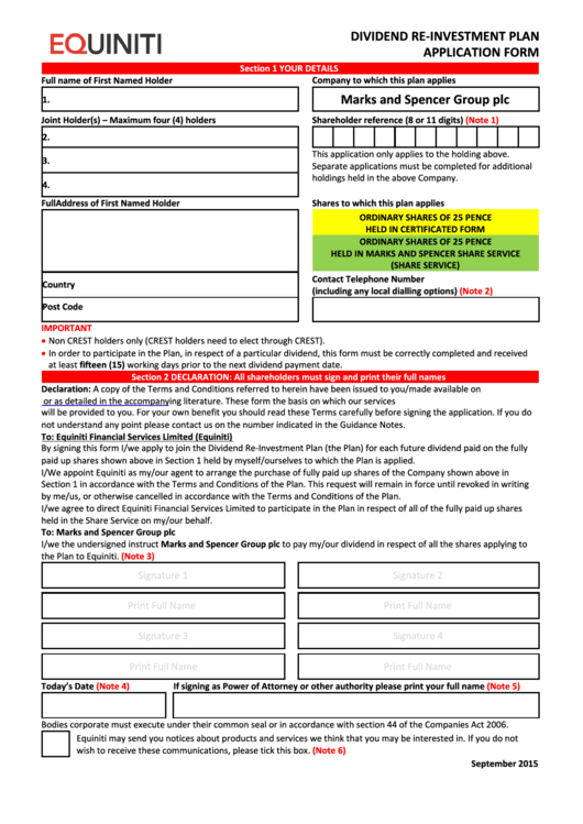 Equiniti Dividend Re-Investment Plan Application Form - Marks And Spencer Group Printable pdf