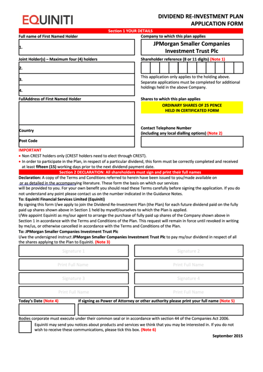 Equiniti Dividend Re-Investment Plan Application Form - Jpmorgan Smaller Companies Investment Trust Printable pdf