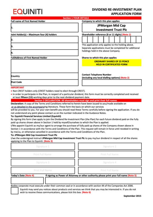 Equiniti Dividend Re-Investment Plan Application Form - Jpmorgan Mid Cap Investment Trust Printable pdf