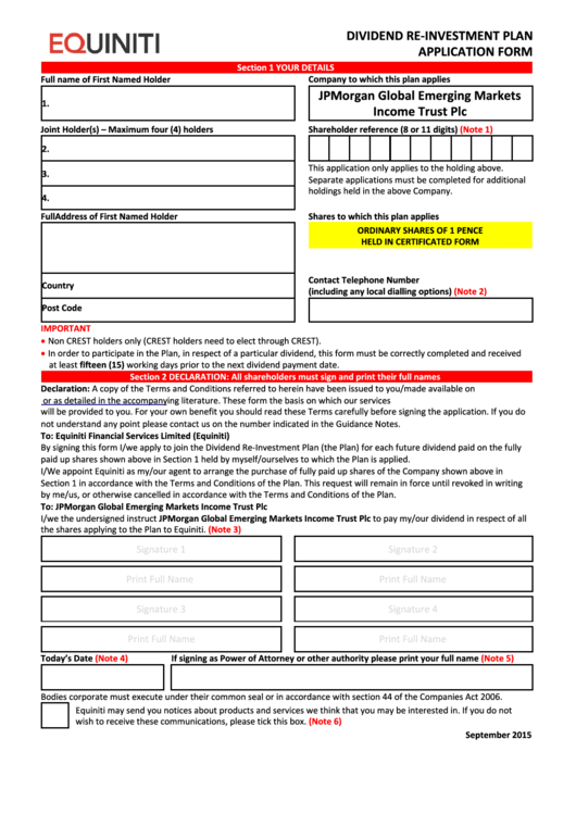 Equiniti Dividend Re-Investment Plan Application Form - Jpmorgan Global Emerging Markets Income Trust Printable pdf