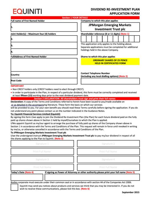 Equiniti Dividend Re-Investment Plan Application Form - Jpmorgan Emerging Markets Investment Trust Printable pdf