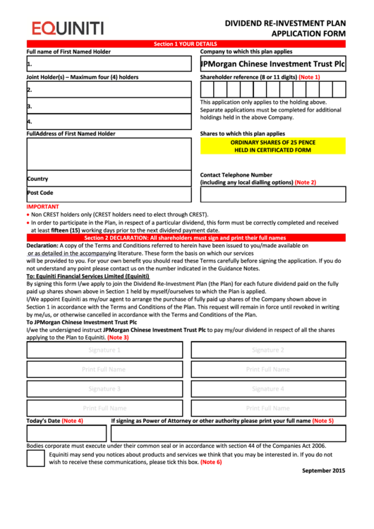 Equiniti Dividend Re-Investment Plan Application Form - Jpmorgan Chinese Investment Trust Printable pdf
