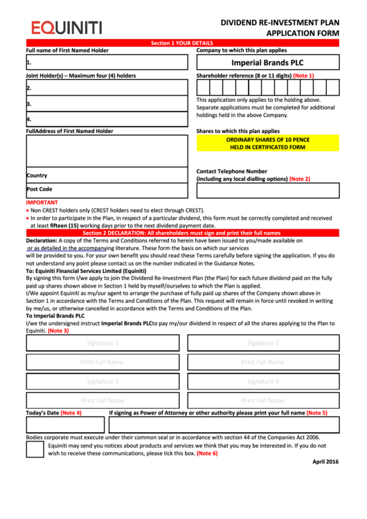 Equiniti Dividend Re-Investment Plan Application Form - Imperial Brands Printable pdf