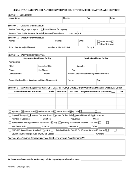 Texas Standard Prior Authorization Request Form For Health Care ...