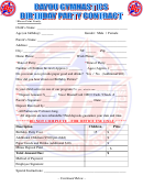 Gymnastics Birthday Party Contract