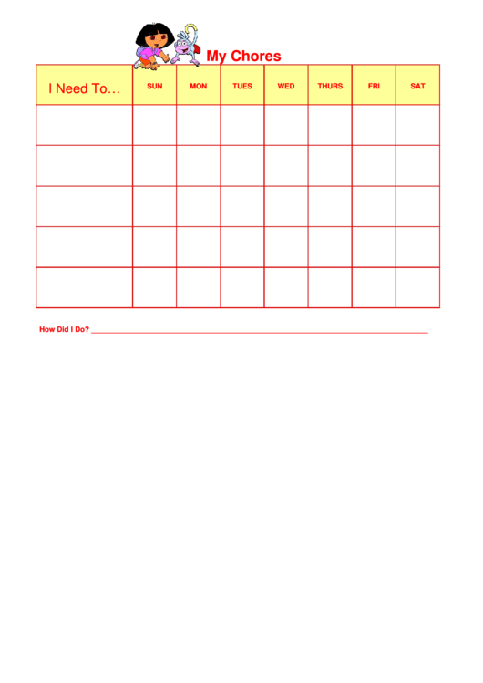 Dora Weekly Chore Chart For Kids