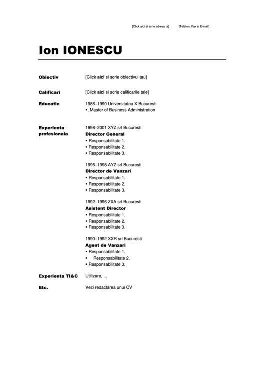 Sample Resume Template - Romania Printable pdf
