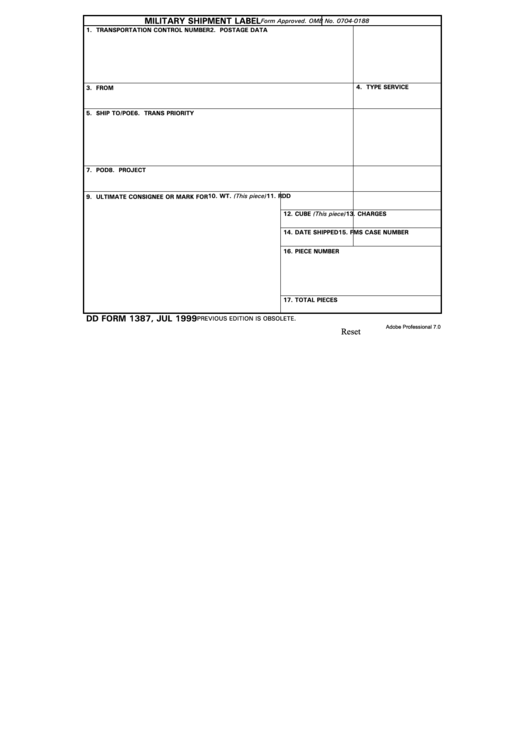 Fillable Dd Form 1387 Military Shipment Label Printable