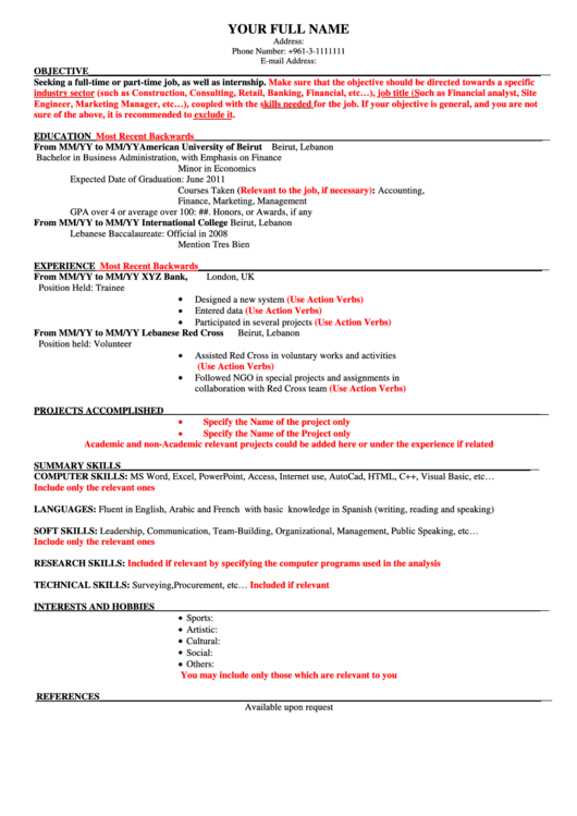 Sample Resume Template Printable pdf