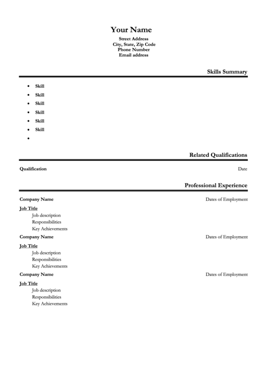 Resume Template Printable pdf